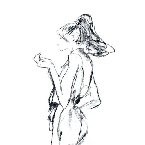 Line sketch of fashion model