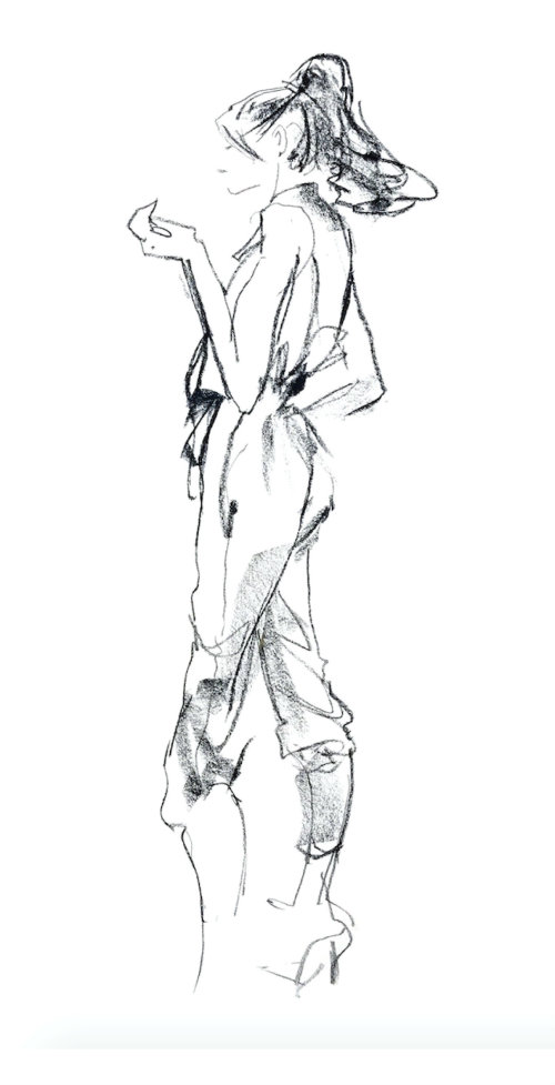 Line sketch of fashion model