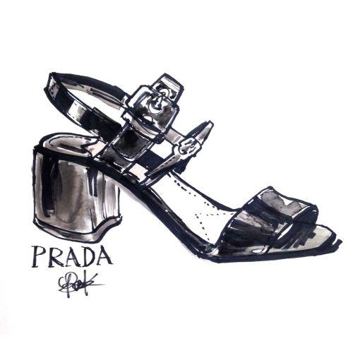 Black & white sketch for Prada women's shoe