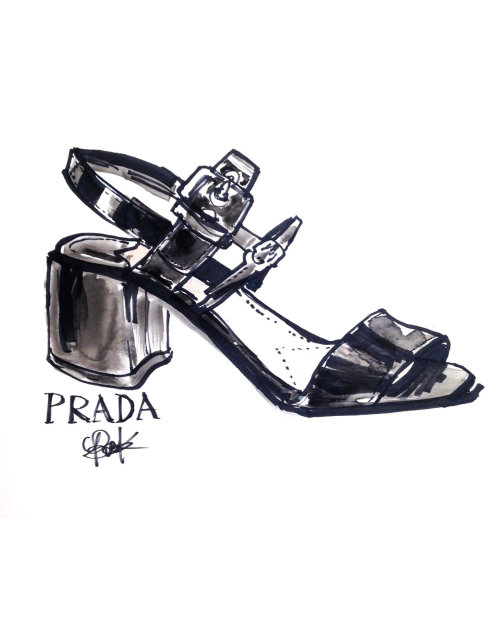 Black & white sketch for Prada women's shoe