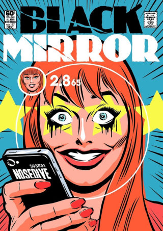 Black Mirror episode Nosedive as a vintage comic book cover