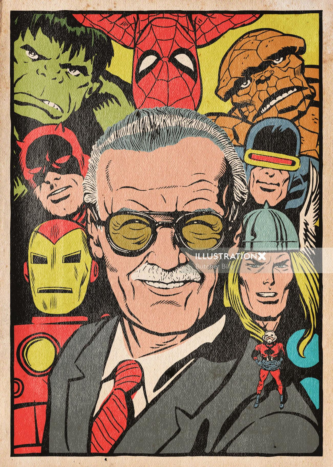Comic panels telling the biography of Stan Lee