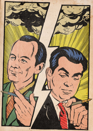 Two old men pop art poster
