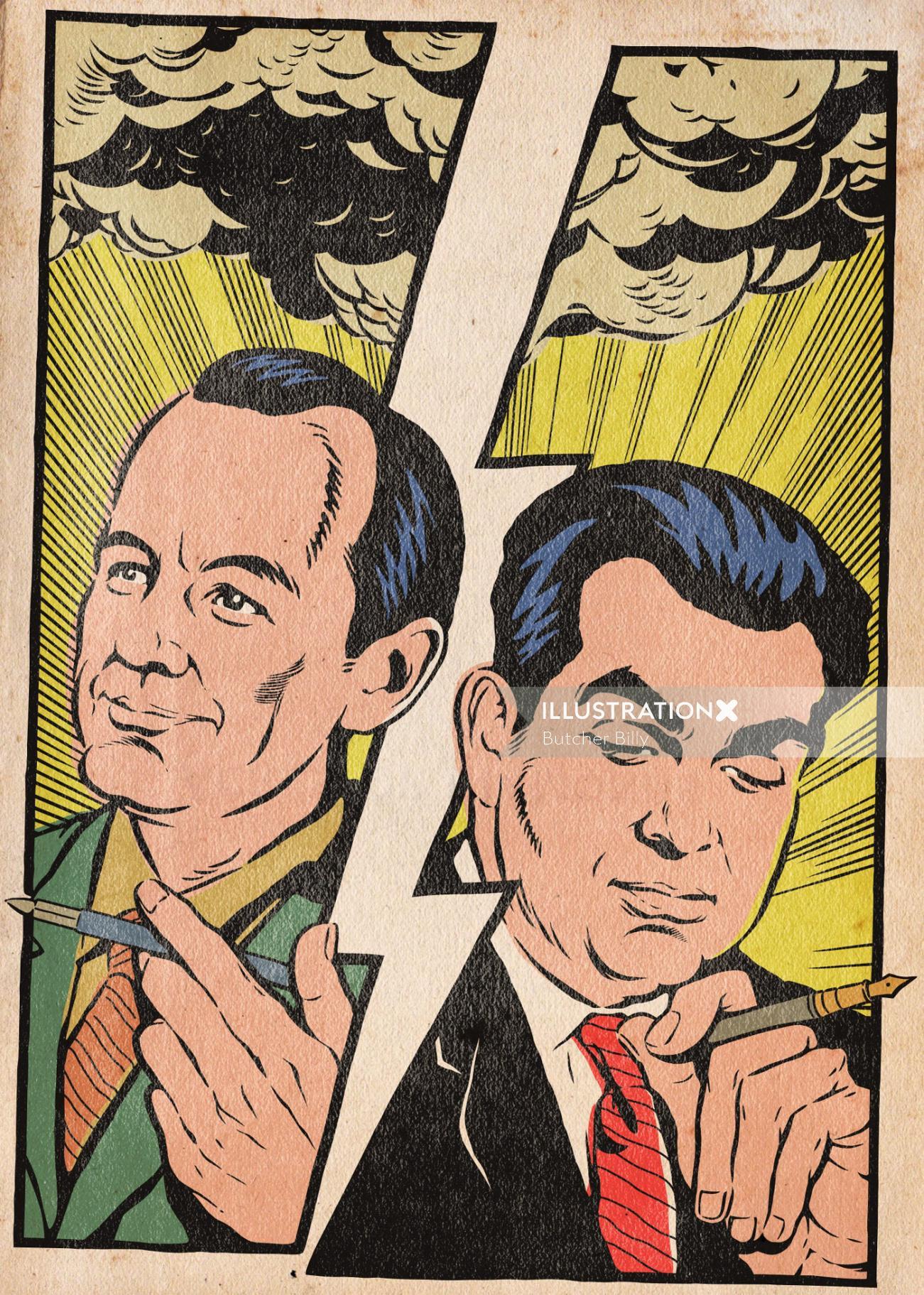 Two old men pop art poster