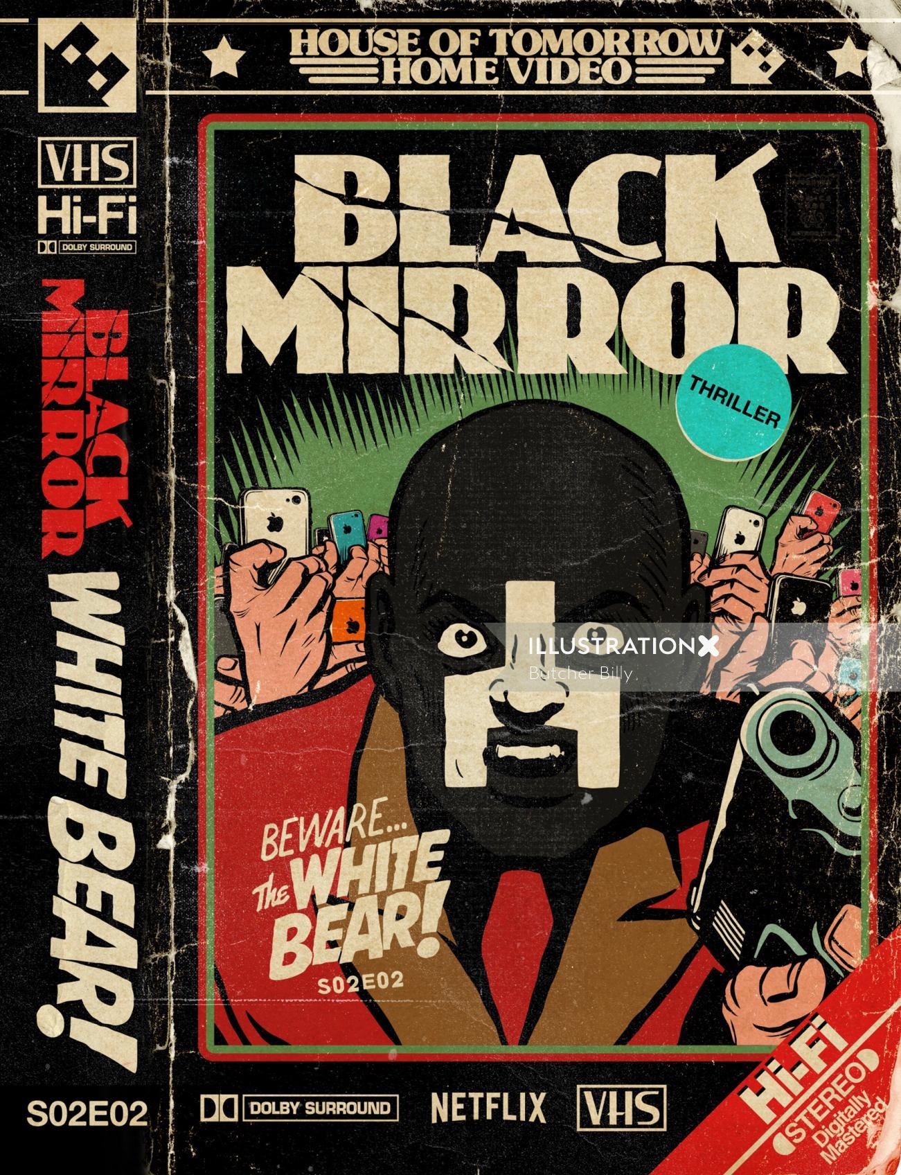 Black mirror lettering art for poster design