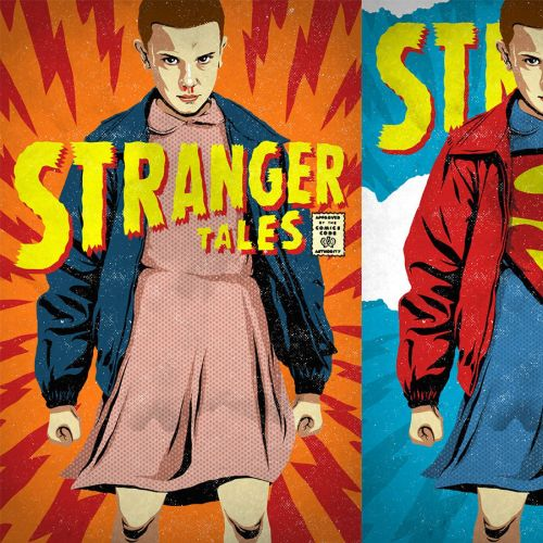 Stranger Things series with the Superman logo illustration