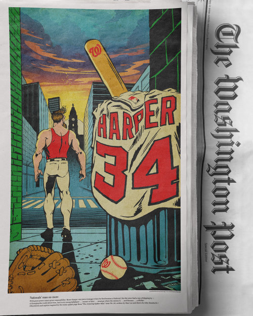 Baseball player illustration for washington post