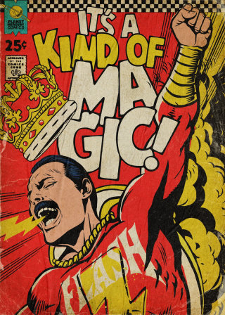 Artwork featuring Freddie Mercury as Shazam