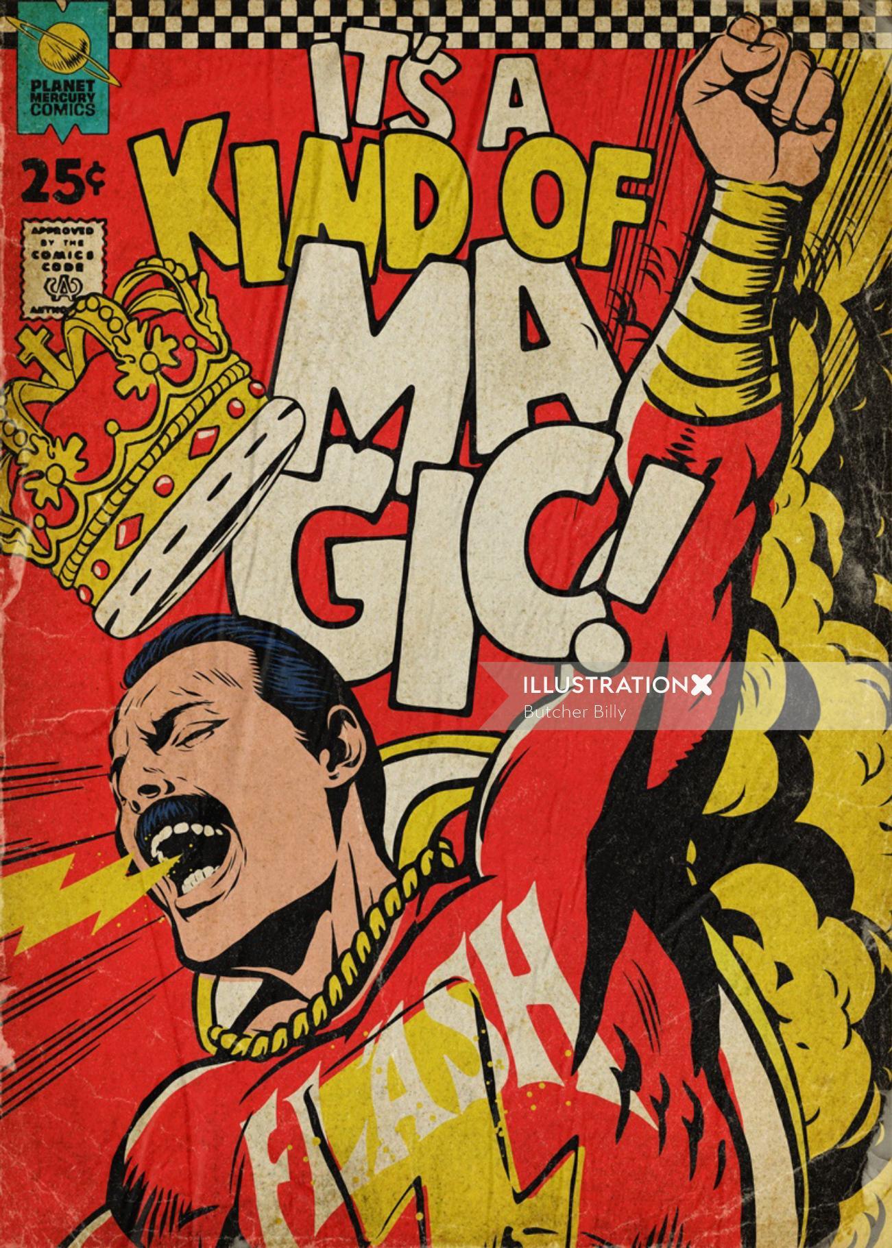 Artwork featuring Freddie Mercury as Shazam