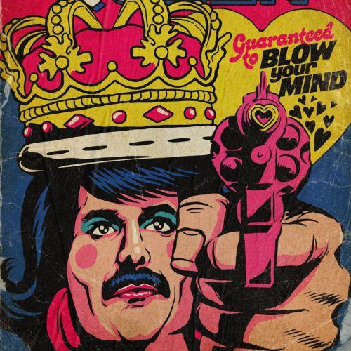 Pop art illustration of Freddie Mercury in a vintage pulp comic book