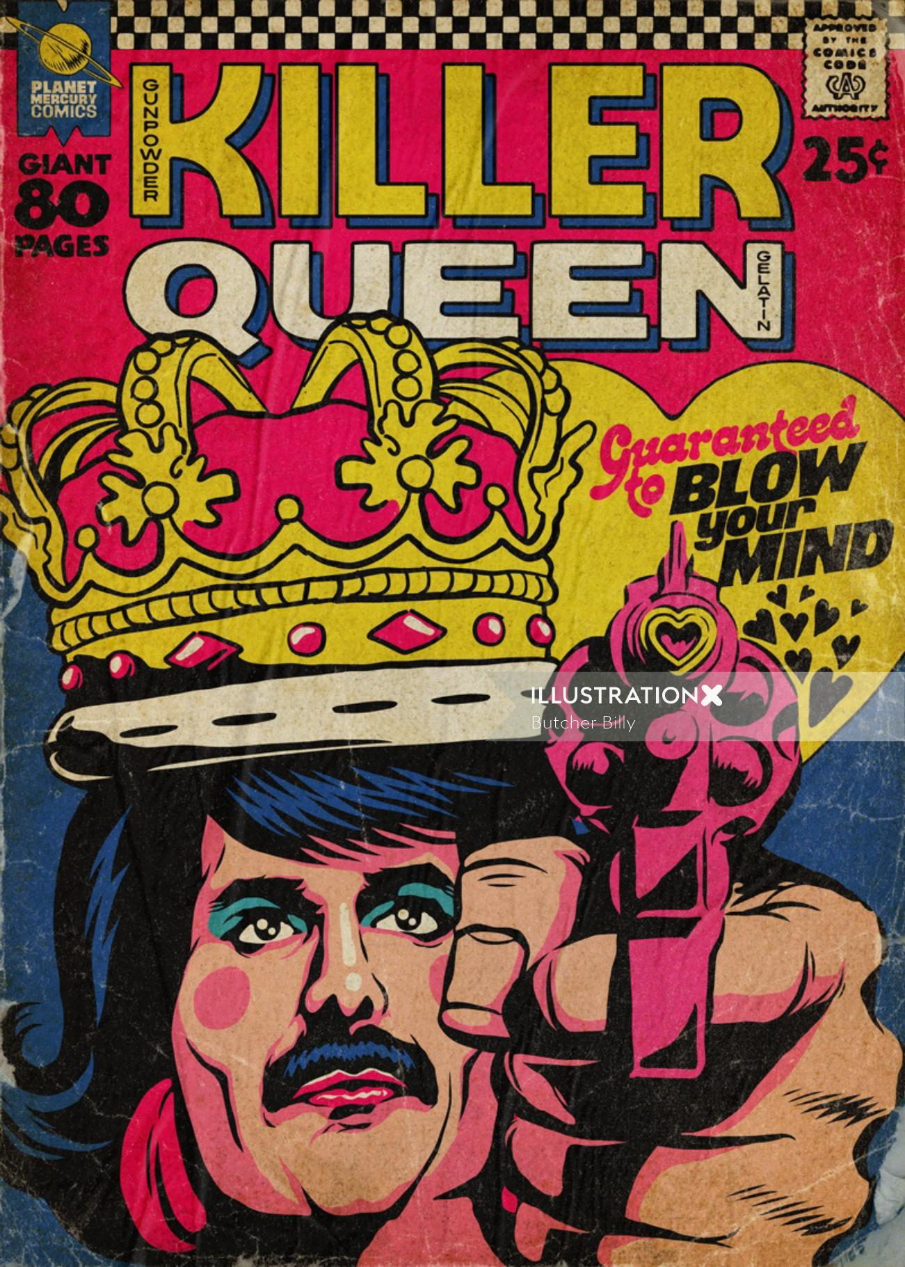 Pop art illustration of Freddie Mercury in a vintage pulp comic book