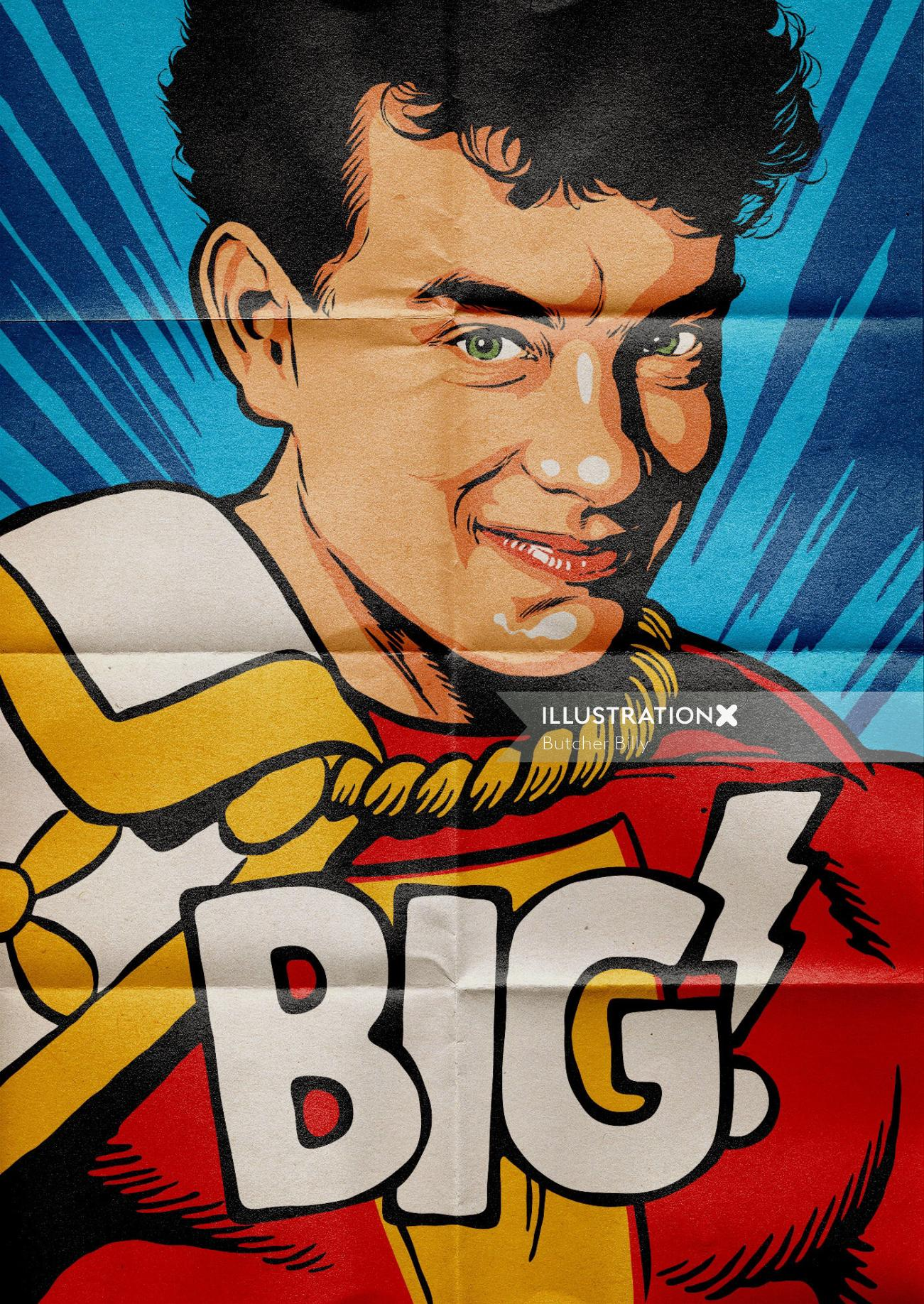 Personal illustration of Tom Hanks in the film Big wearing the Shazam uniform