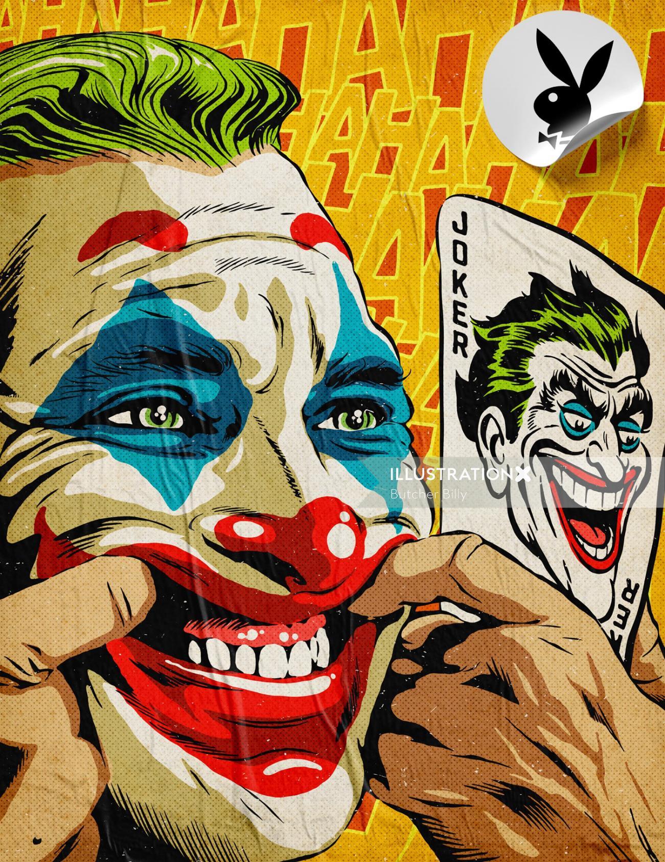Comic illustration of joker