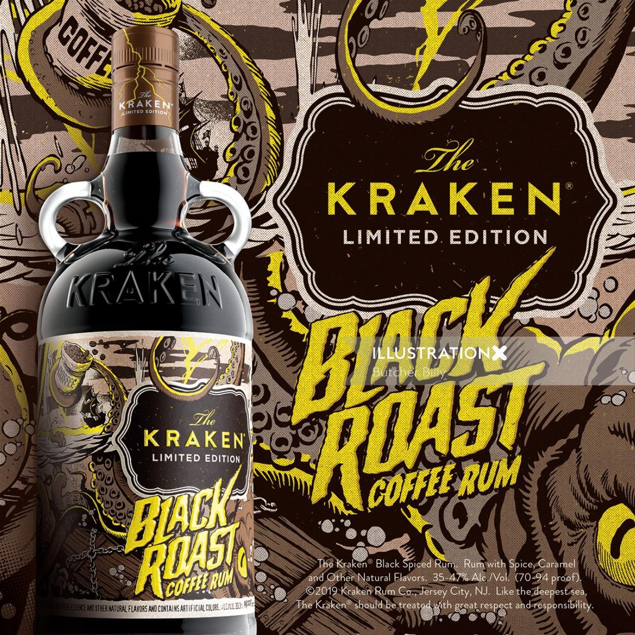 Black roast coffee run lettering