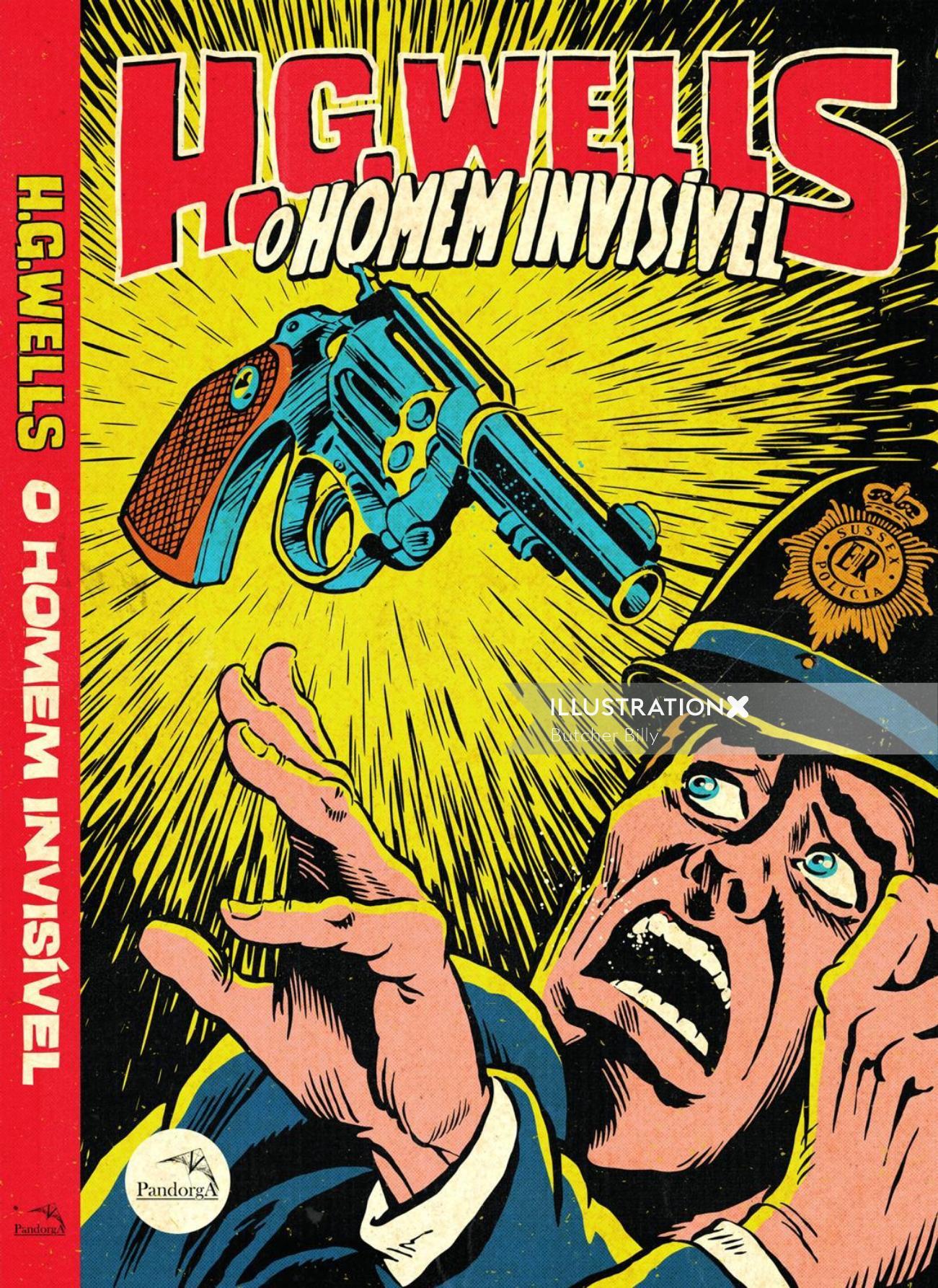 Comic poster illustration for O Homen Invisivel