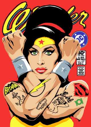 An illustration of Amy winehouse as wonder woman