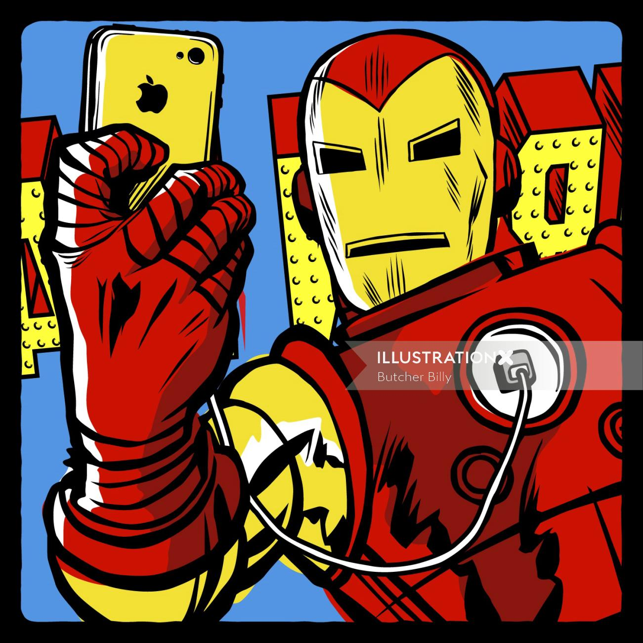Pop Art of Iron Man: Stark Taking Selfie