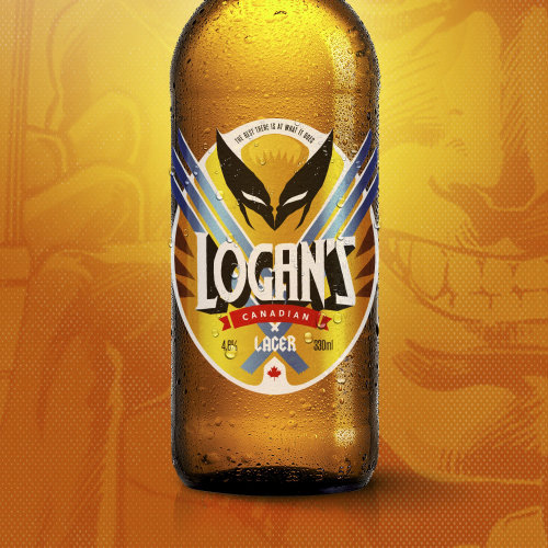 Logan's Canadian Lager Beer Bottle Illustration