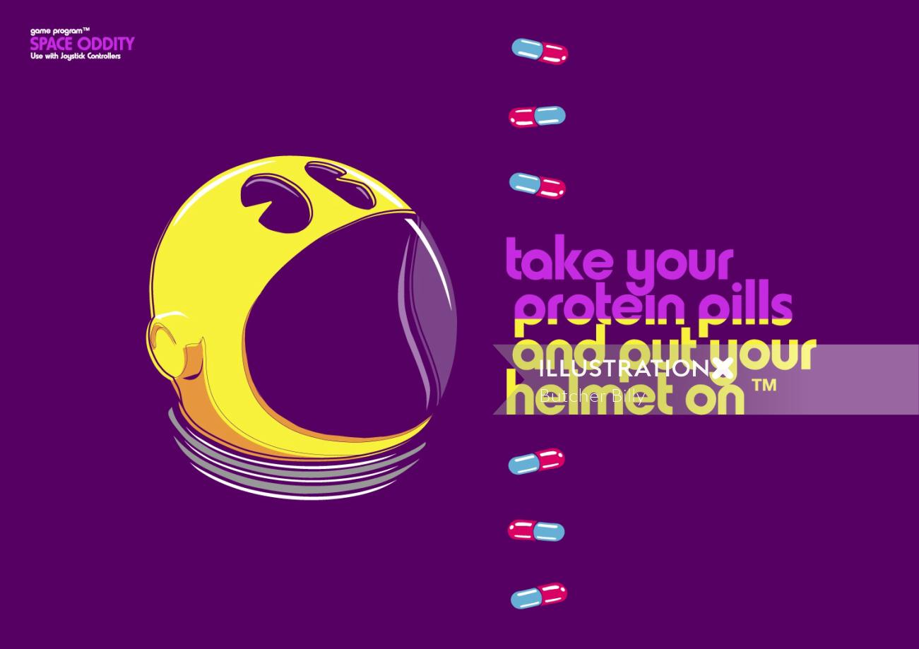 Graphic Poster art of Protein Pills