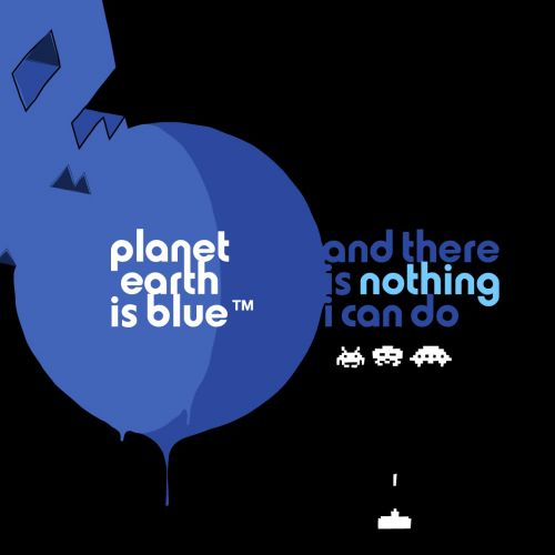 Graphic Poster Art of Planet Earch is blue