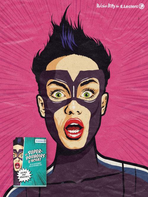 Cartoon illustration of superhero suprised