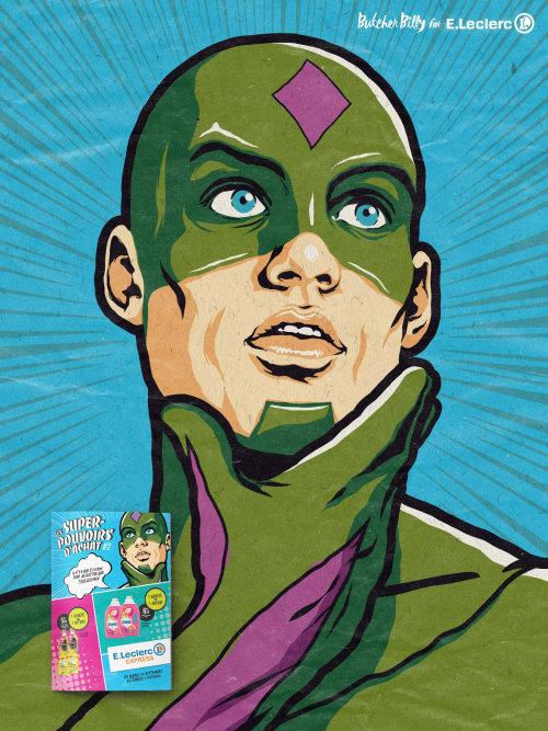 Illustration of thinking superhero