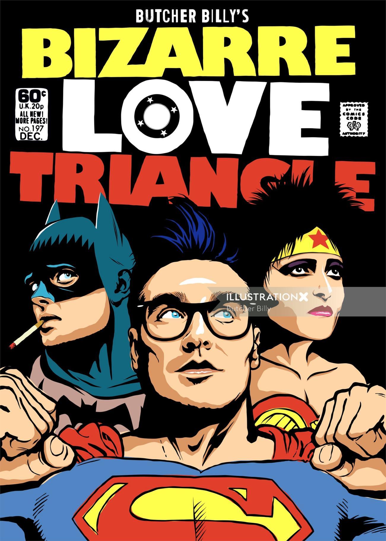 Cartoon Characters of Batman, Superman & Wonder woman