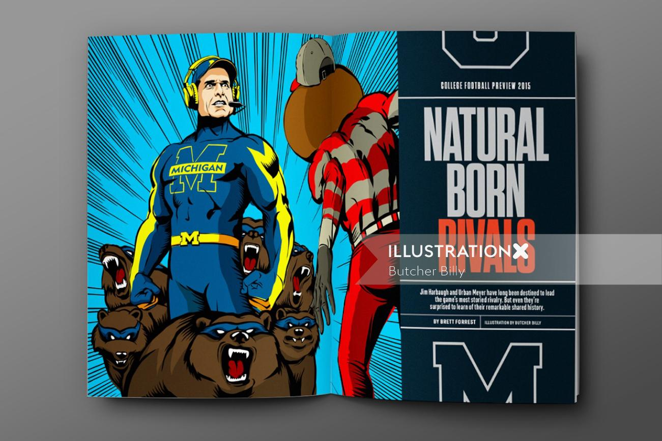 Natural born rivals super hero illustration