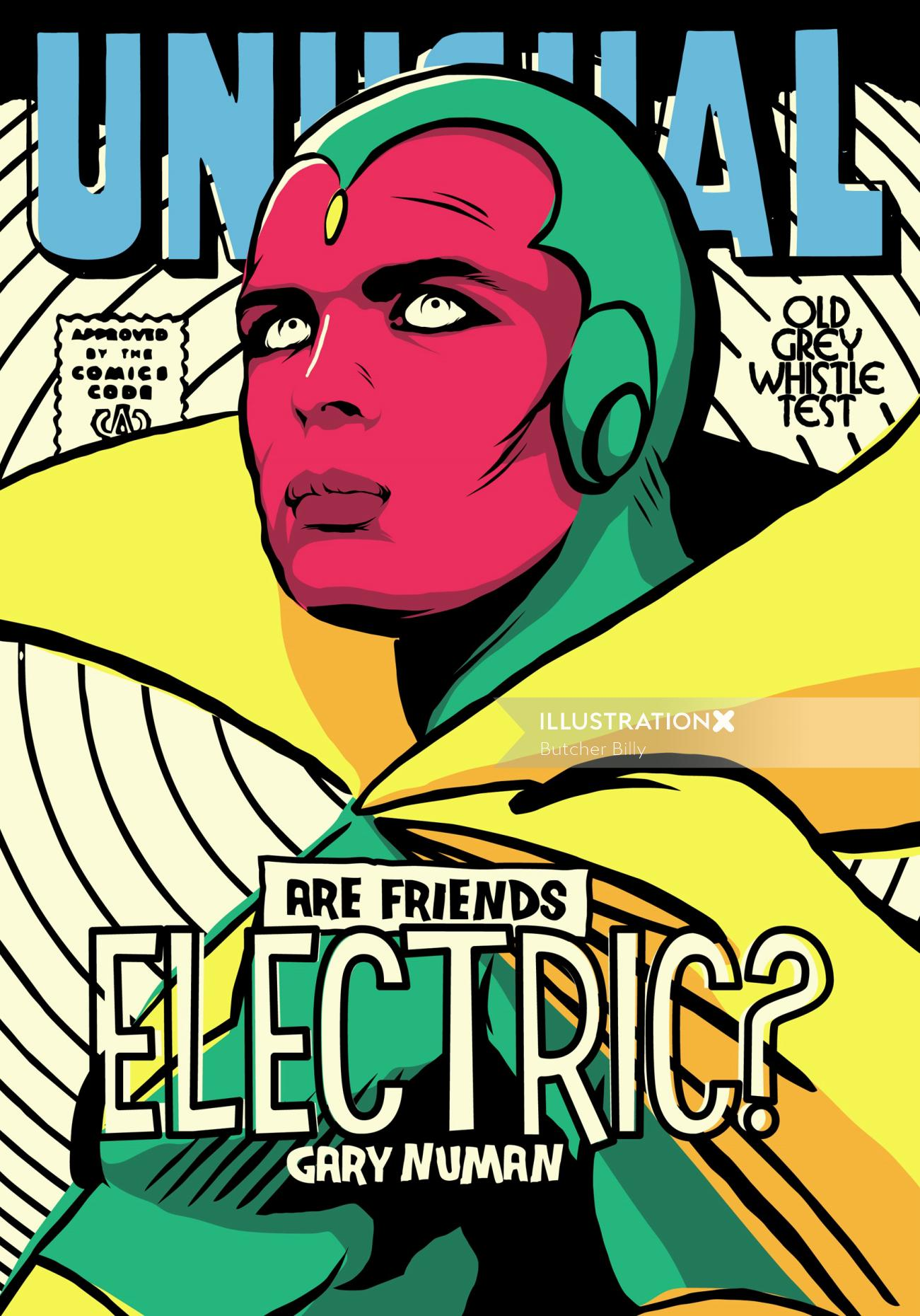 Pop culture art of Vision superhero