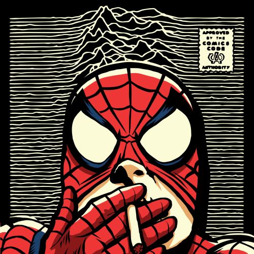 Pop culture art of smoking spider man