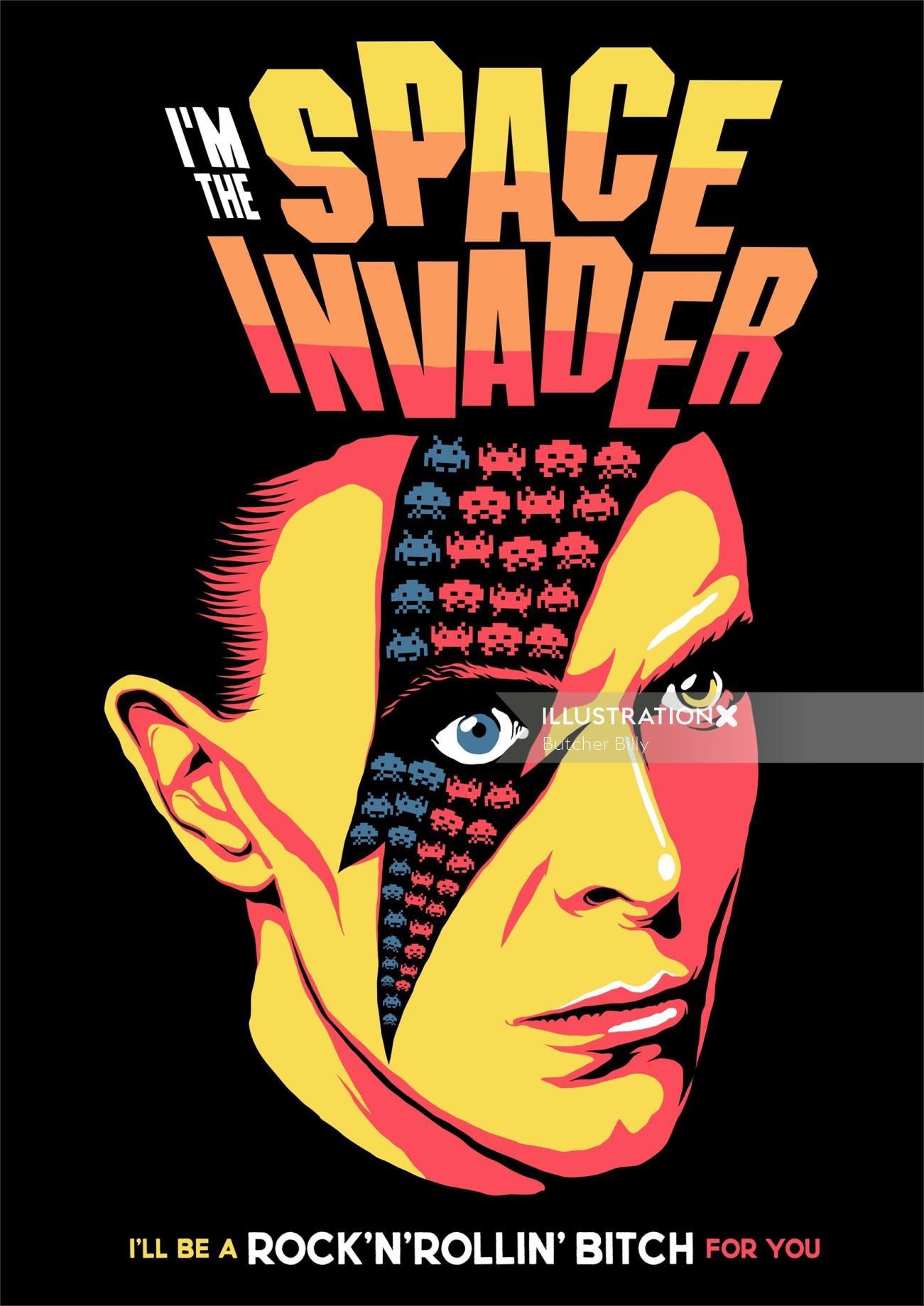 Digital illustration of space invader