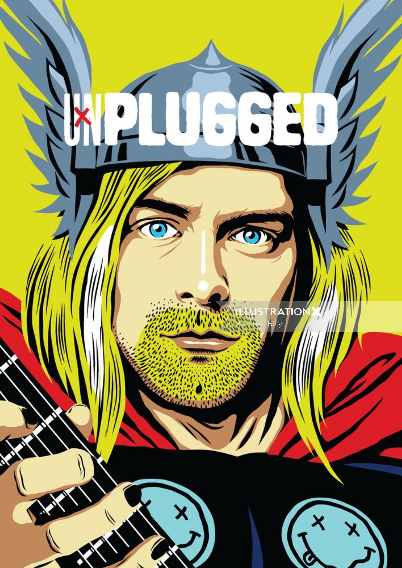 Portrait of Kurt Cobain From Nirvana