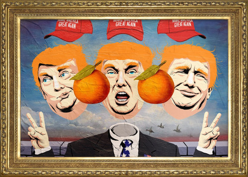 Pop art of  Donald Trump faces