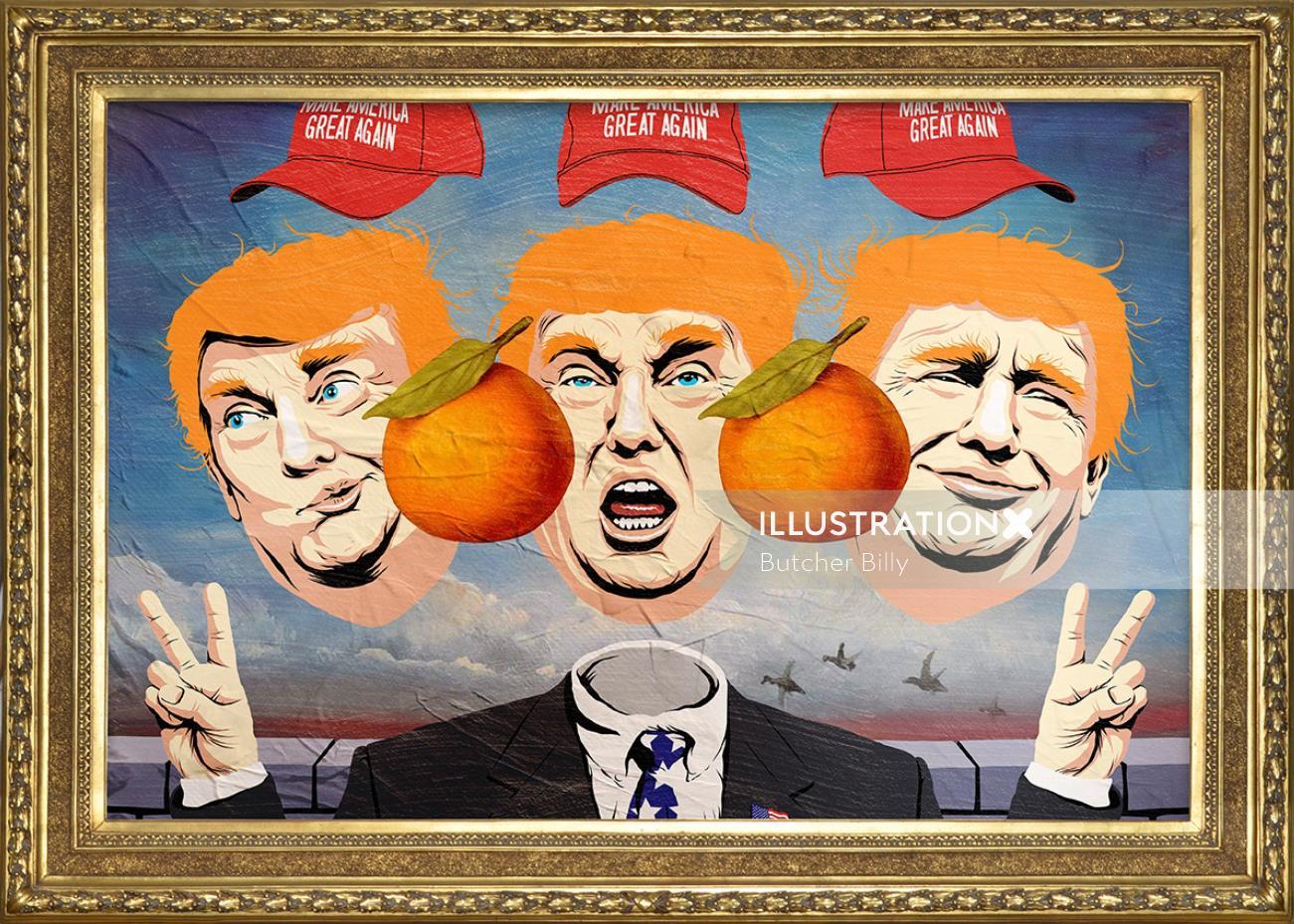 Pop art of  Donald Trump faces