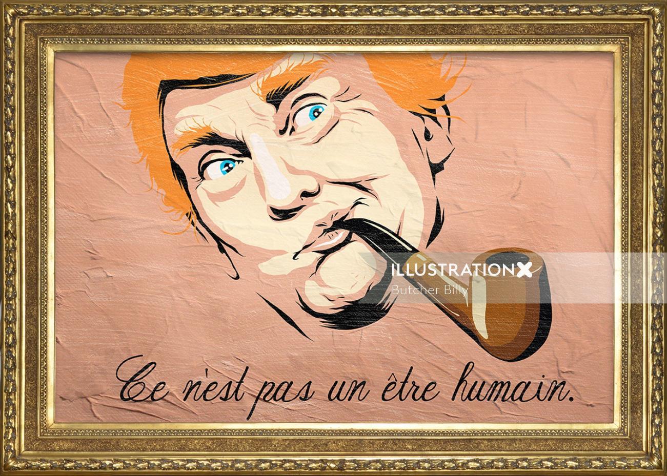 Donald Trump with smoking pipe