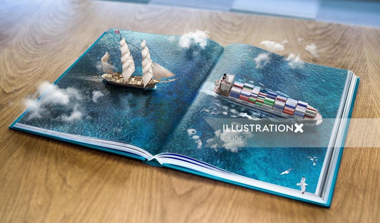 CGI comp retouch illustration for commodities trading company
