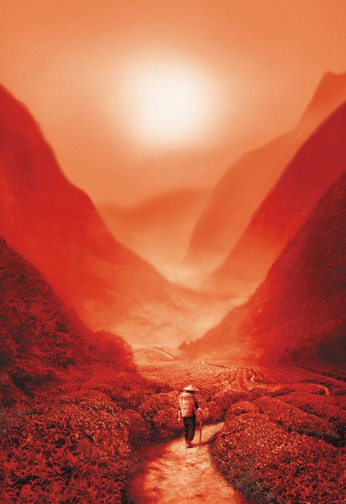 Rendu 3D de CGI marchant au coucher du soleil