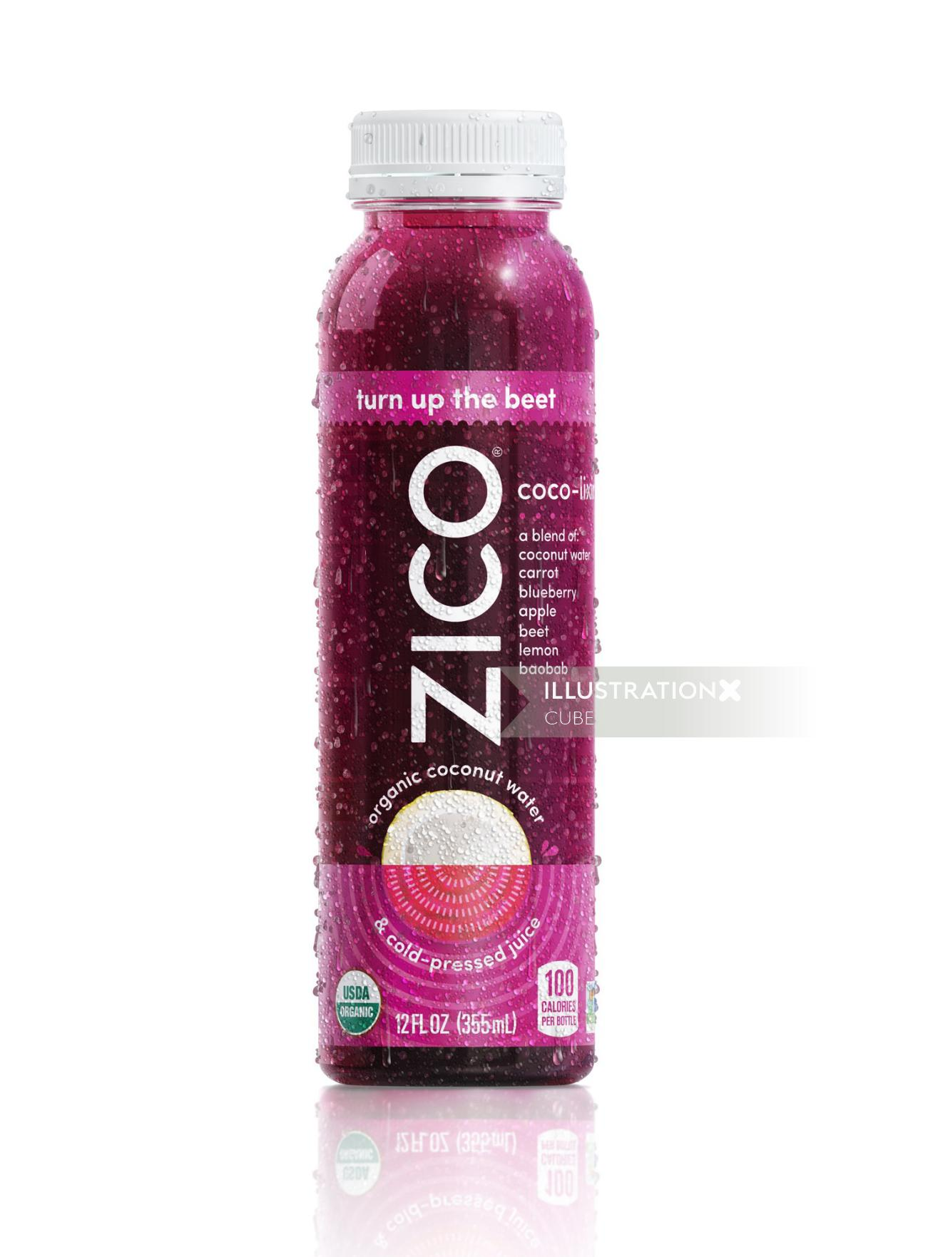 Zico coconut water packaging illustration