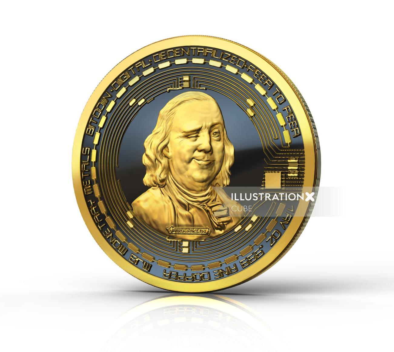 Benjamin Franklin BitCoin illustration for US magazine feature