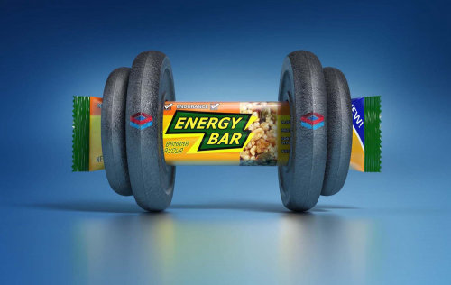 Energy bar 3D graphical illustration