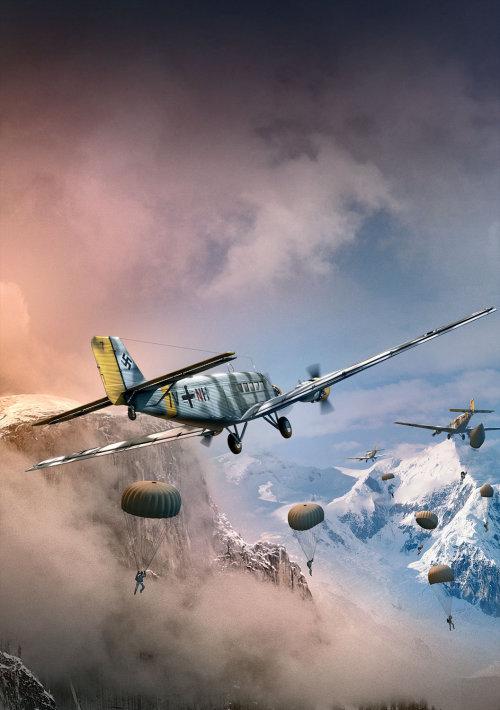 Parachutes 3D / CGI hors de l'avion