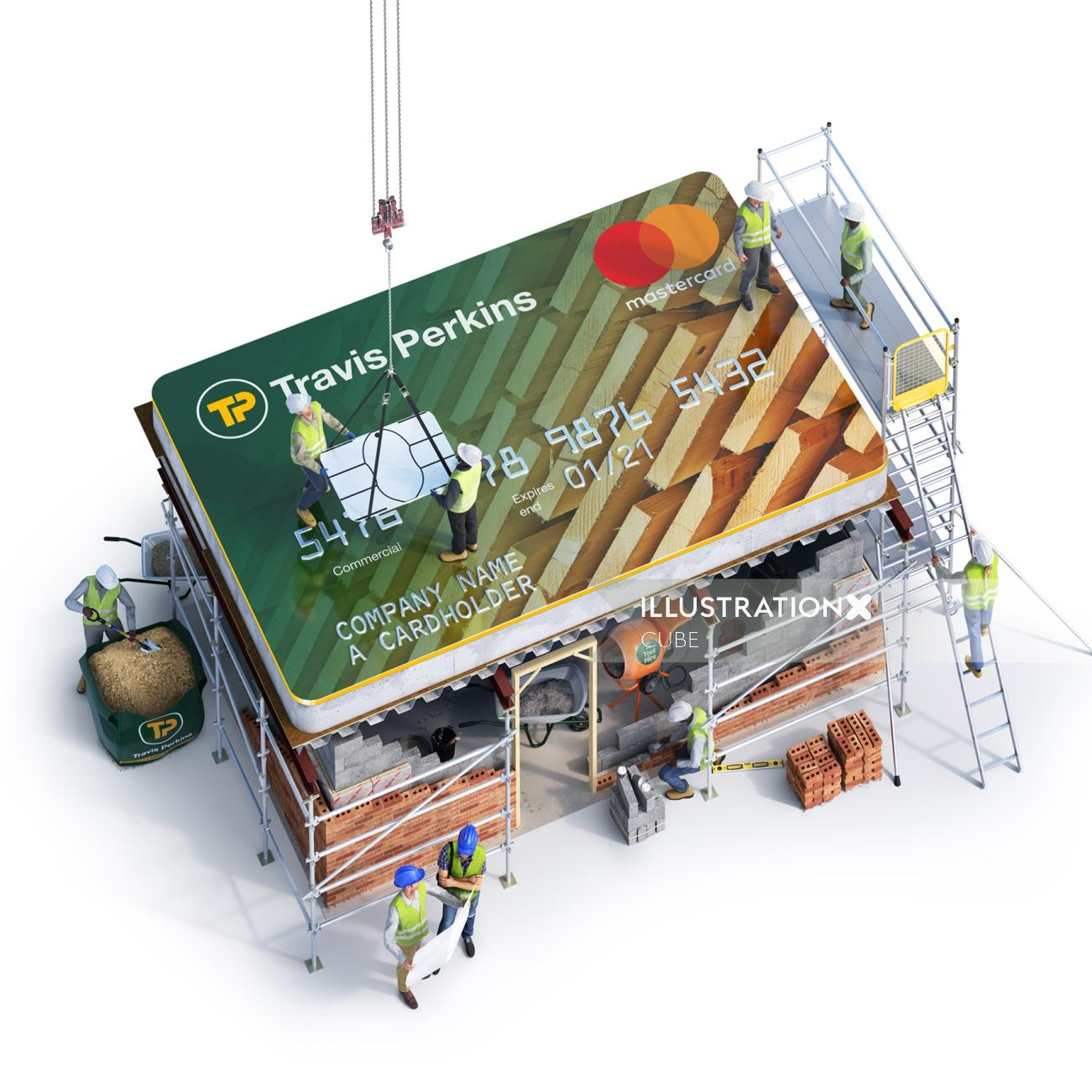 3D art for Travis Perkins credit card campaign