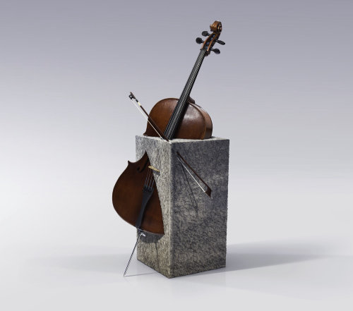 Surreal illustration of violin