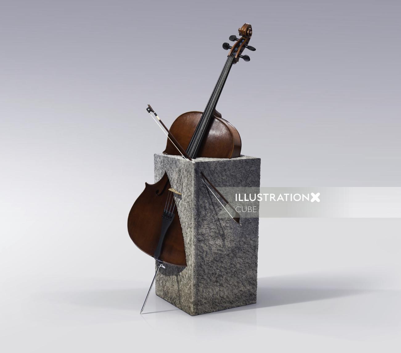 Surreal illustration of violin