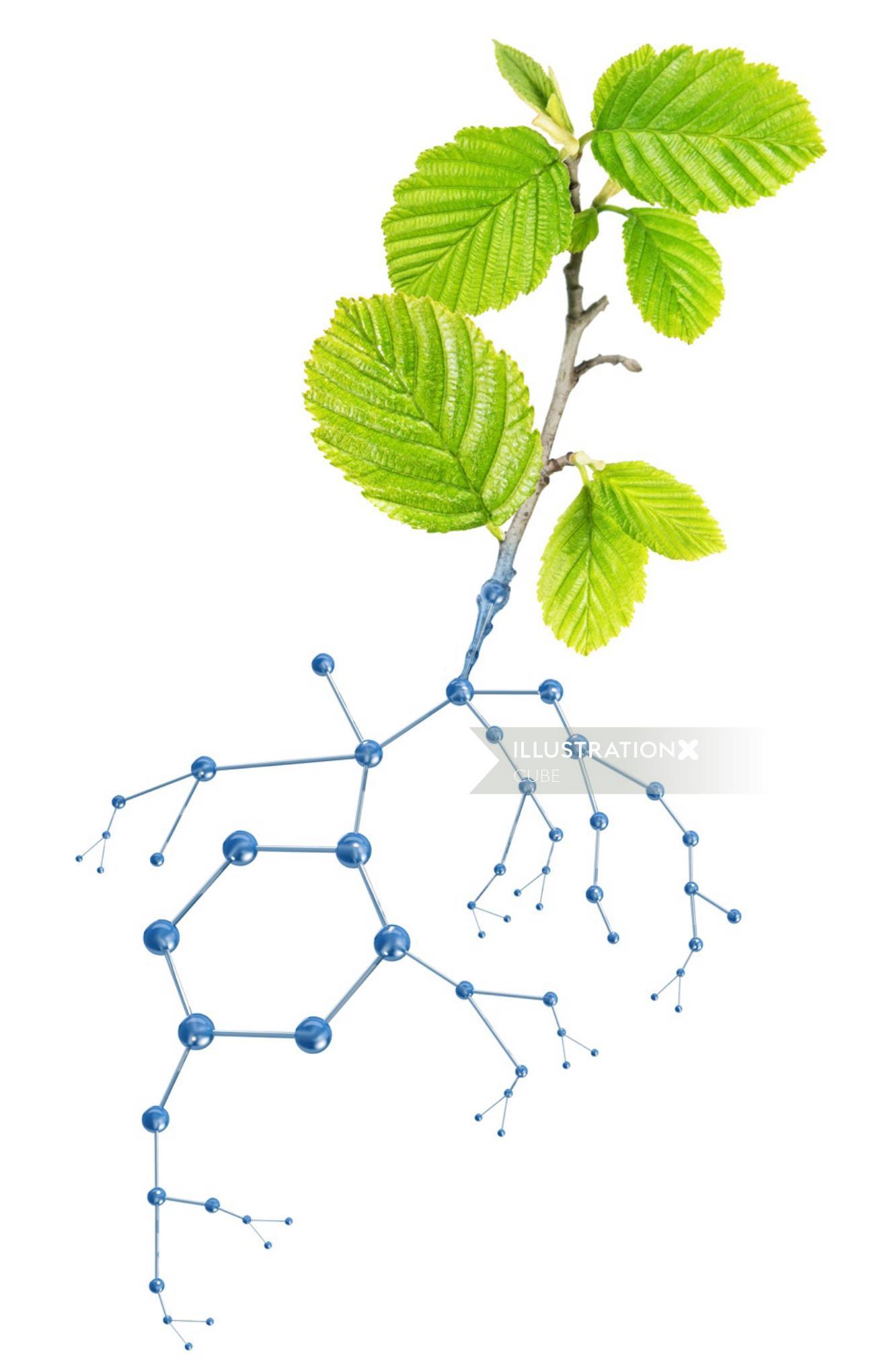 leaves 3D illustration