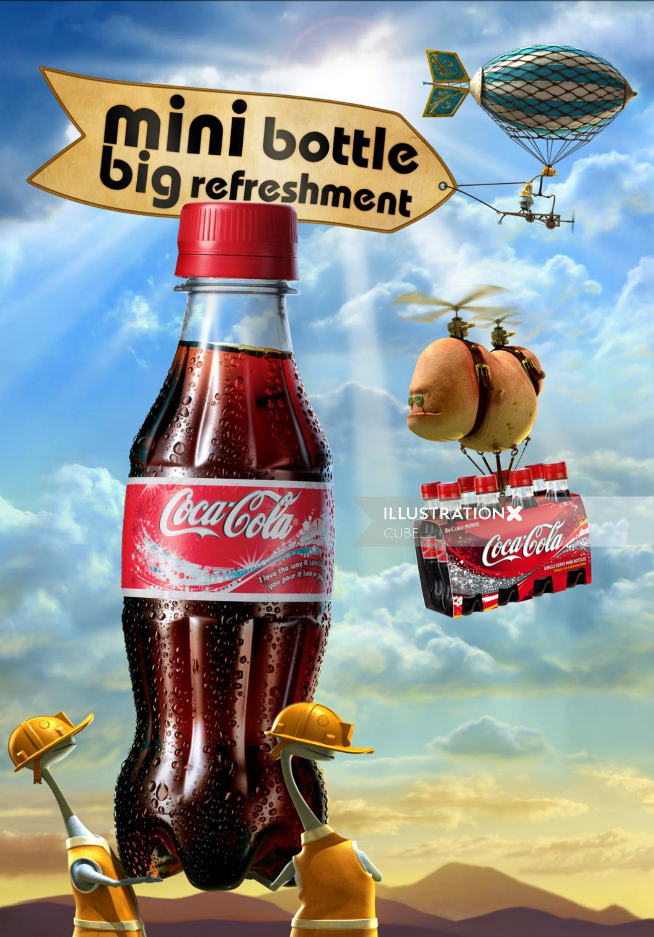 3D realistic poster for Coca-Cola