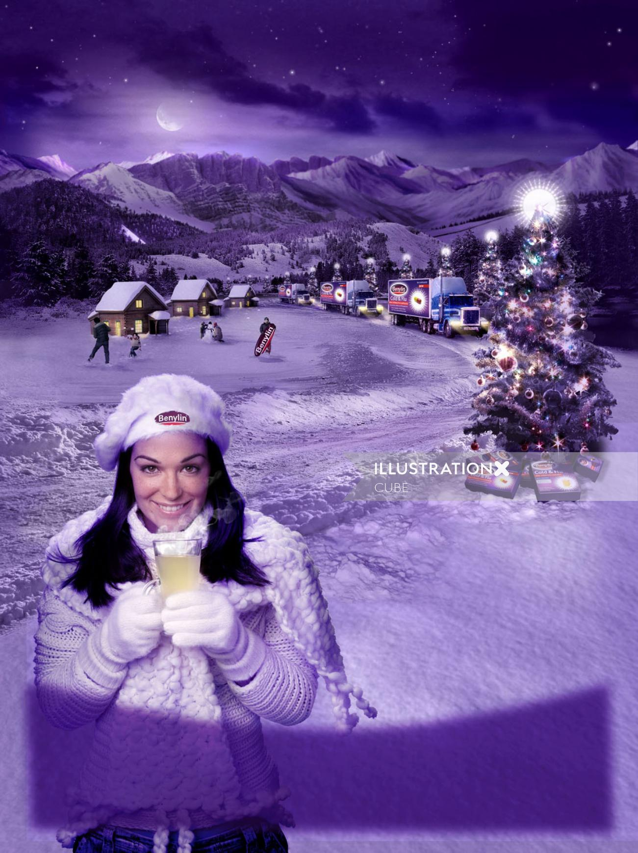 Realistic poster of woman in snow for benylin