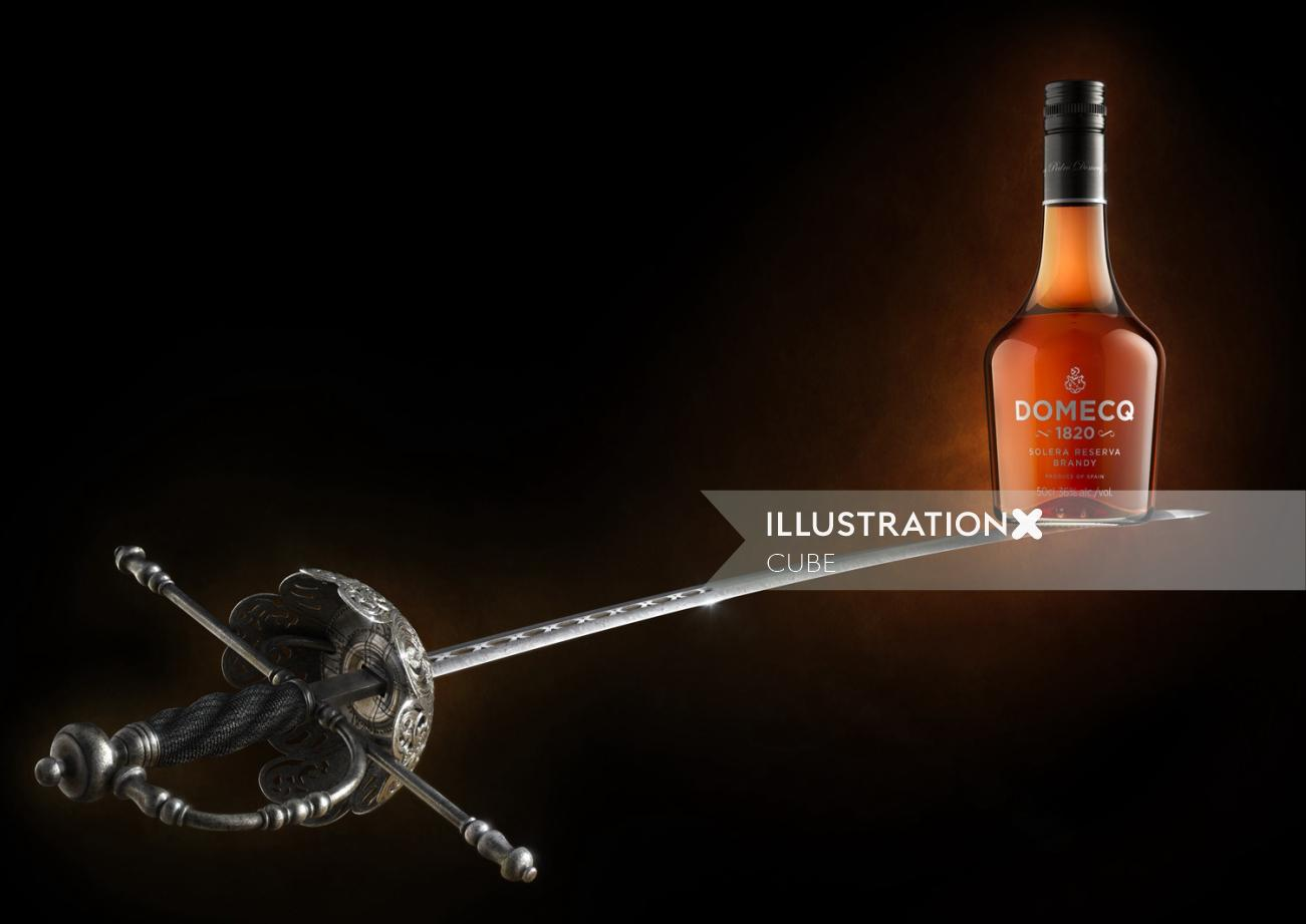 Domecq brandy product illustration for promo