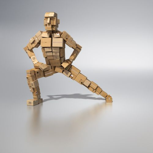 3d / cgi rendering man with cubes