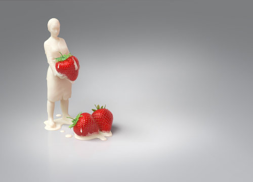 Femme de lait de rendu 3D / cgi avec des baies de paille